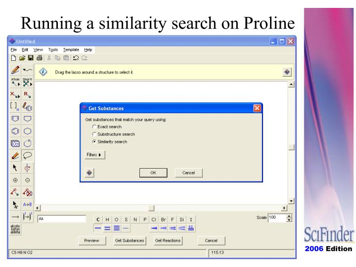 Running a similarity search on Proline