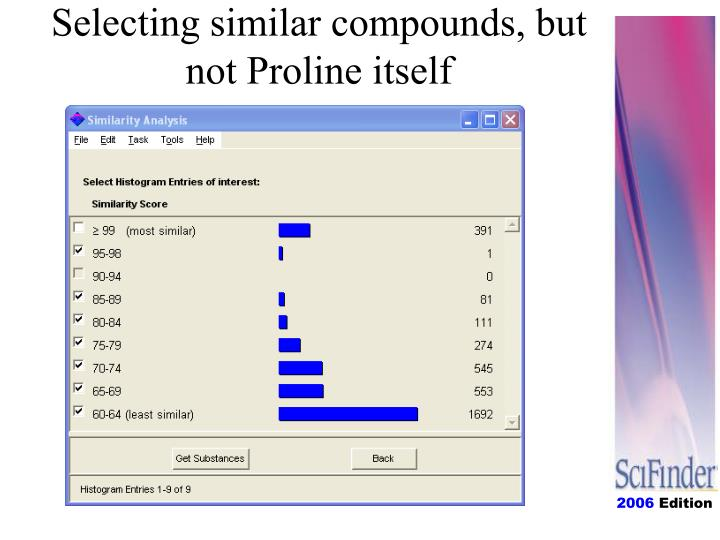 Selecting similar compounds, but not Proline itself