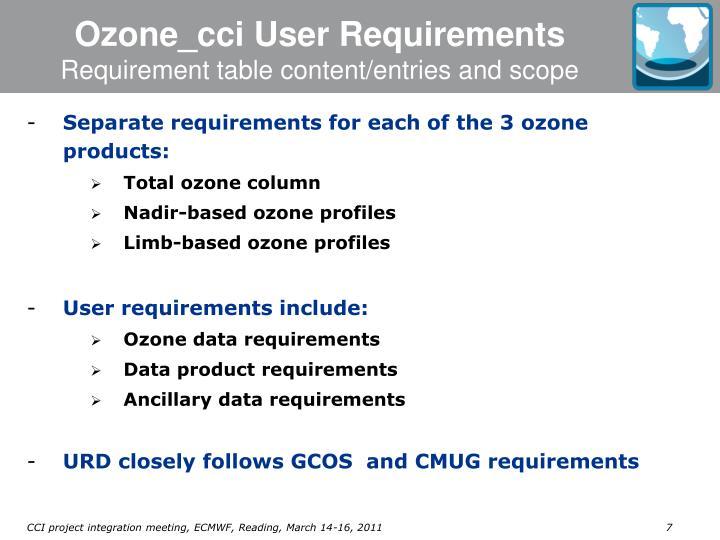 Ozone_cci User Requirements