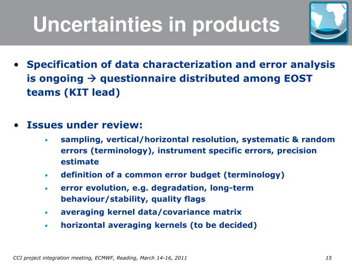 Uncertainties in products