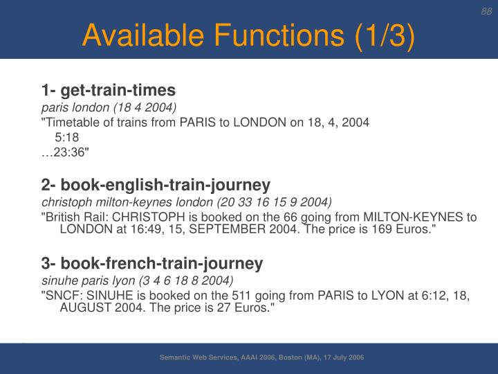 Available Functions (1/3)
