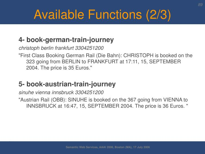 Available Functions (2/3)