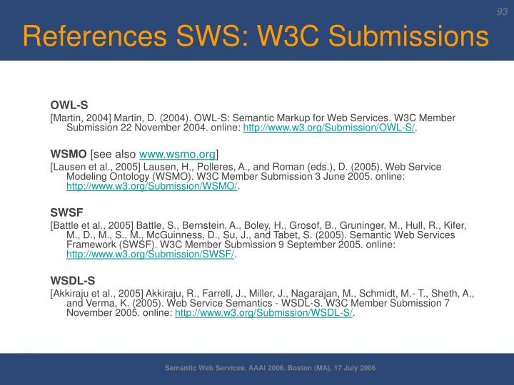 References SWS: W3C Submissions