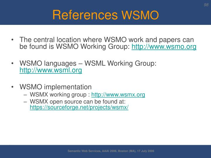 The central location where WSMO work and papers can be found is WSMO Working Group: