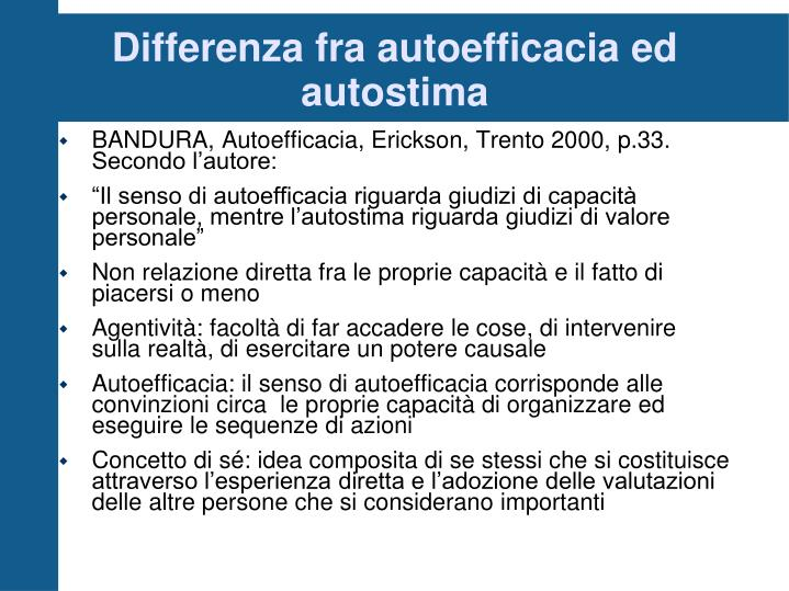 Differenza fra autoefficacia ed autostima
