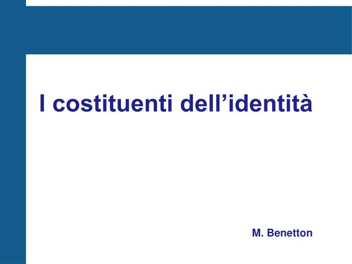 I costituenti dell identit m benetton