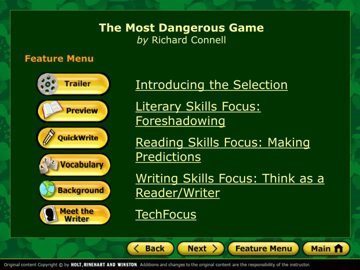 suspenseful components in the most dangerous game by richard connell In the most dangerous game, by richard connell, suspense is used in many there are various components used which makes the story suspenseful first.