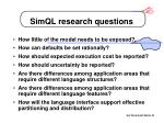simql research questions