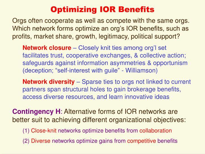 Optimizing IOR Benefits