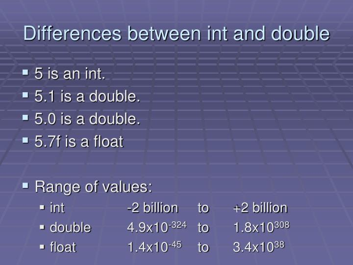 Differences between int and double