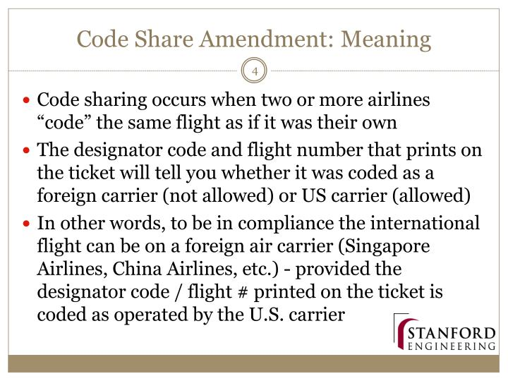 Code Share Amendment: Meaning