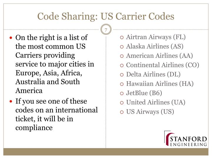 Code Sharing: US Carrier Codes