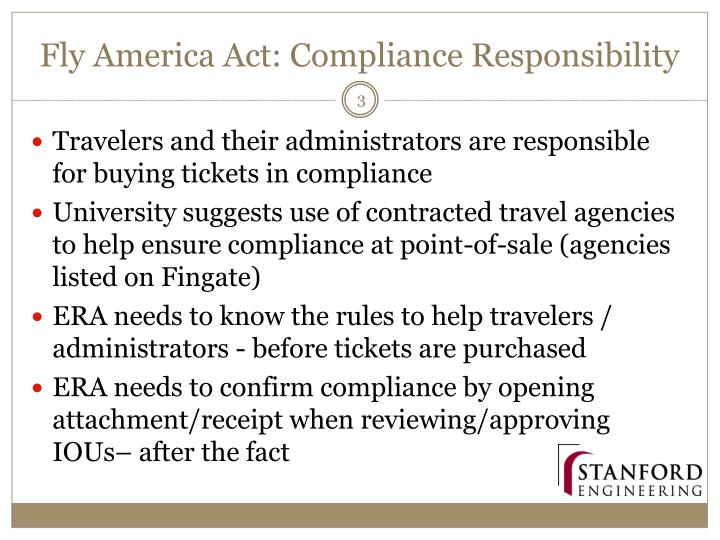 Fly america act compliance responsibility