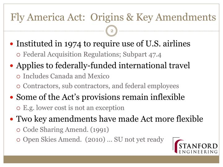 Fly america act origins key amendments