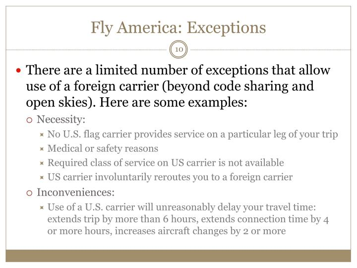 Fly America: Exceptions