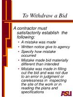 to withdraw a bid