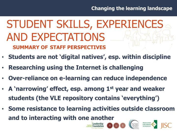 STUDENT SKILLS, EXPERIENCES AND EXPECTATIONS