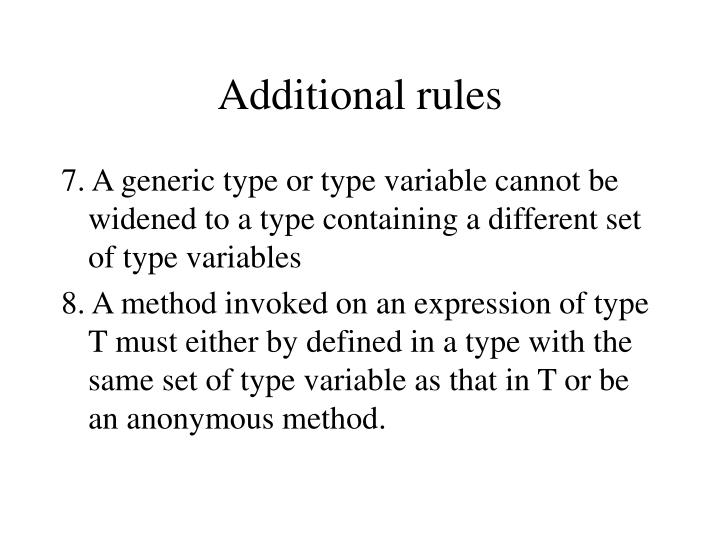 Additional rules