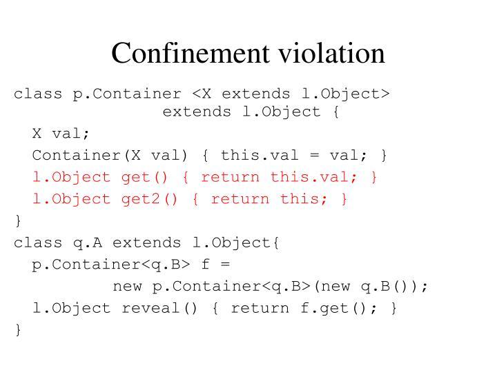 Confinement violation