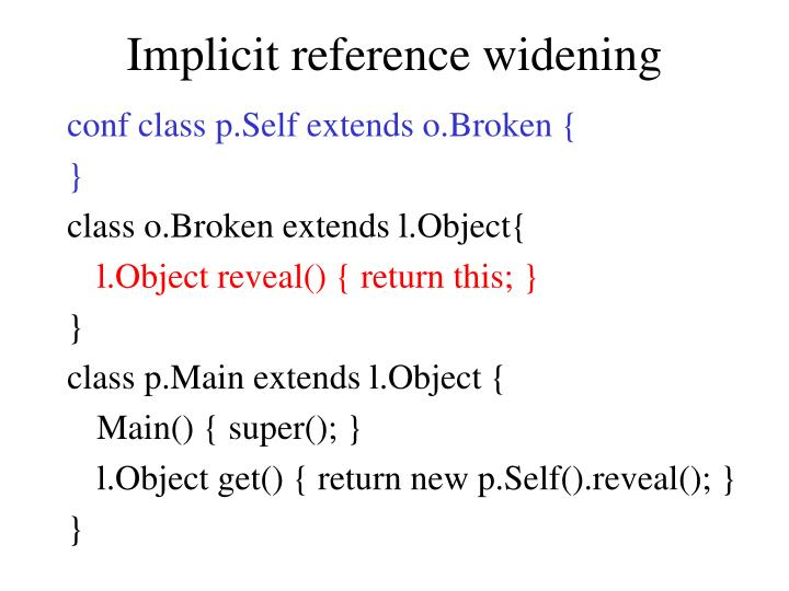 Implicit reference widening