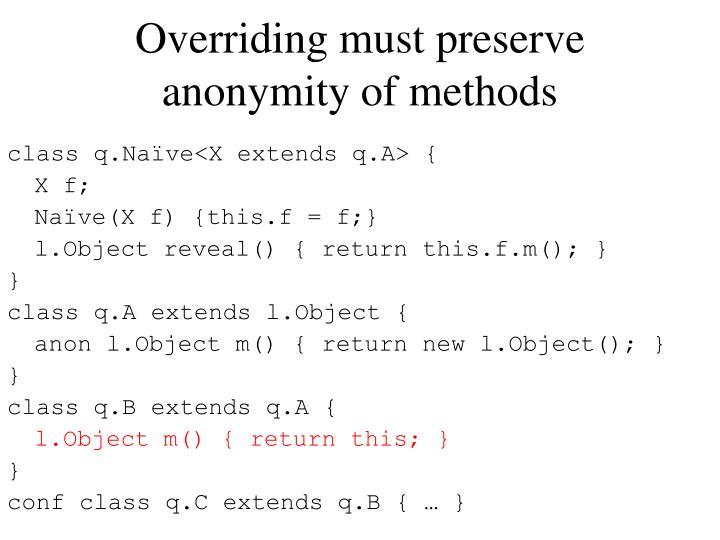 Overriding must preserve anonymity of methods