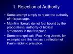 1 rejection of authority