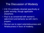 the discussion of modesty
