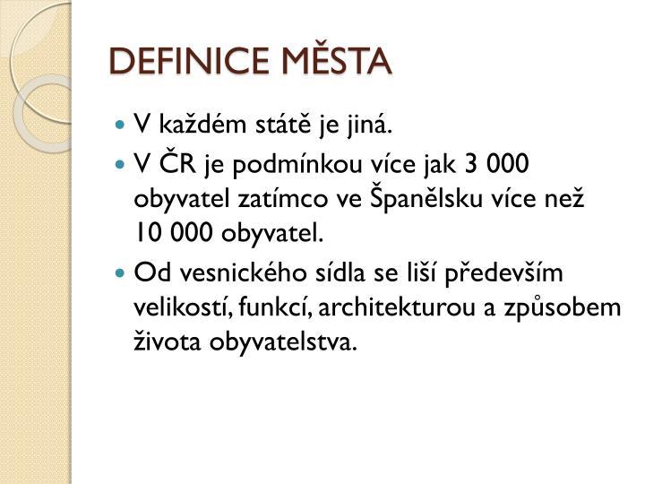 DEFINICE MĚSTA