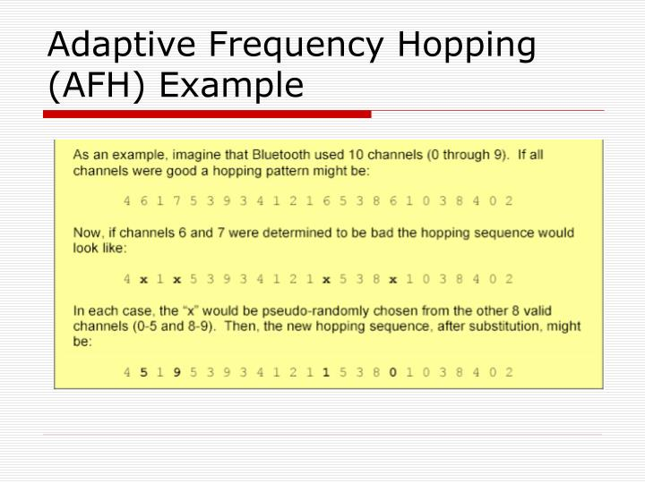 Adaptive Frequency Hopping (AFH) Example
