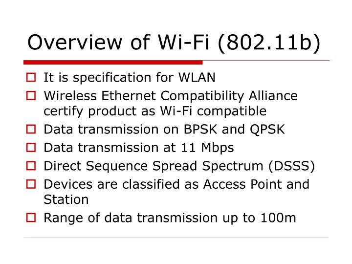 Overview of wi fi 802 11b