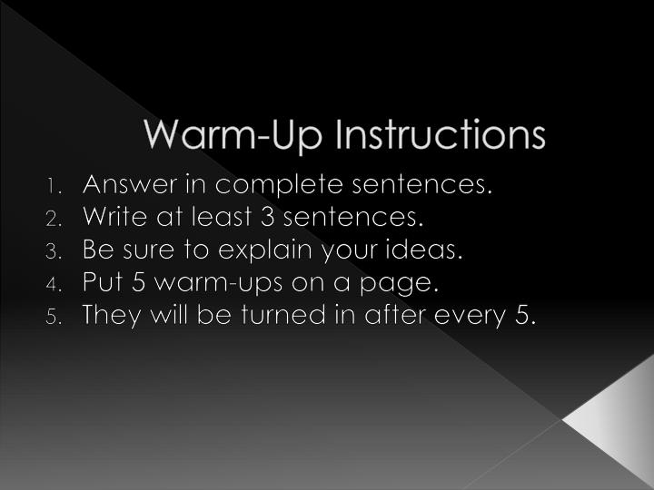 warm up instructions n.
