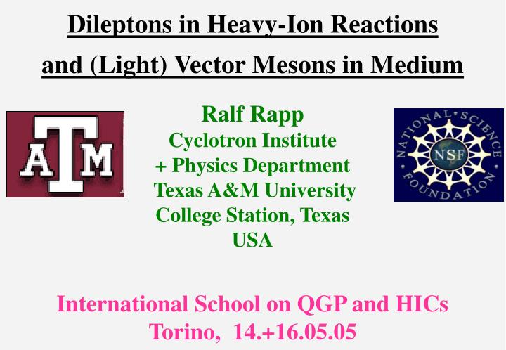 dileptons in heavy ion reactions and light vector mesons in medium n.