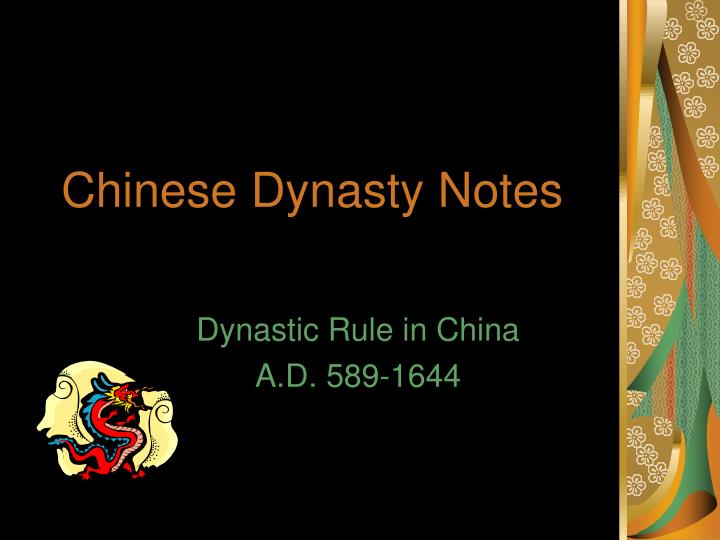 chinese dynasty notes n.