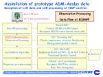 assimilation of prototype adm aeolus data reception of l1b data and l2b processing at nwp centres