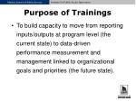 purpose of trainings