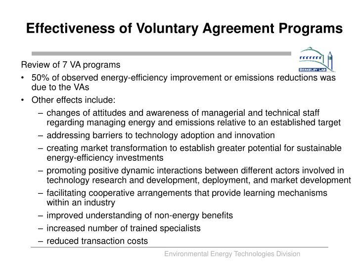 Effectiveness of Voluntary Agreement Programs