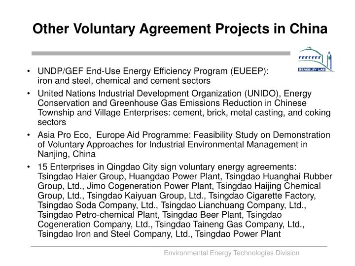 Other Voluntary Agreement Projects in China