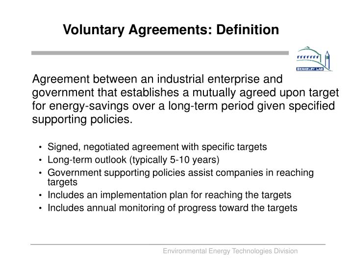 Voluntary agreements definition