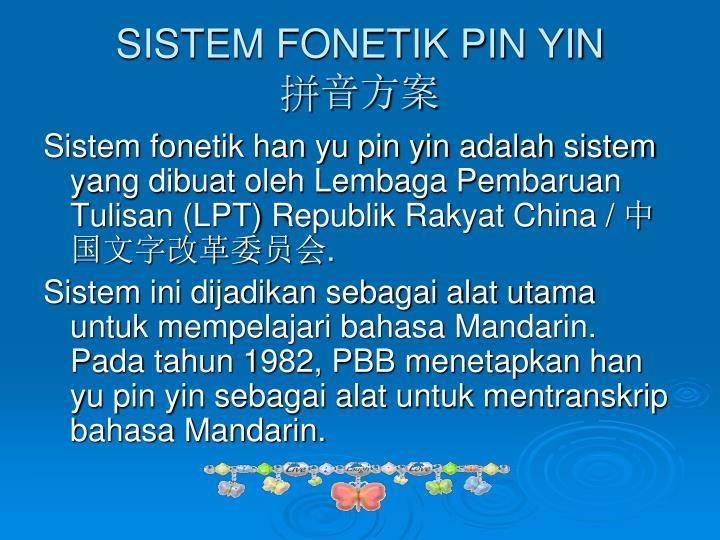 Sistem fonetik pin yin