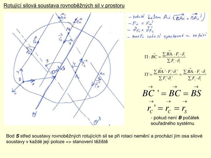 Rotující silová soustava rovnoběžných sil v prostoru