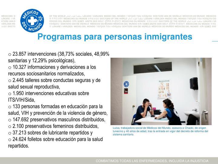 Programas para personas inmigrantes