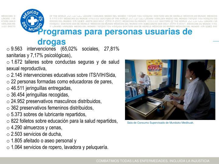 Programas para personas usuarias de drogas