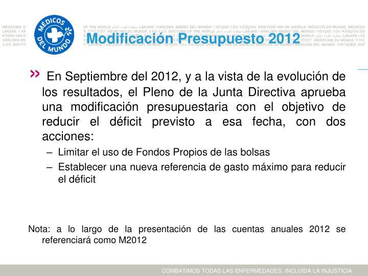 Modificación Presupuesto 2012