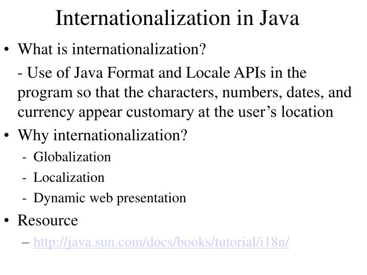 Internationalization in java