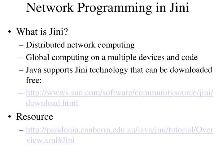 Network Programming in Jini
