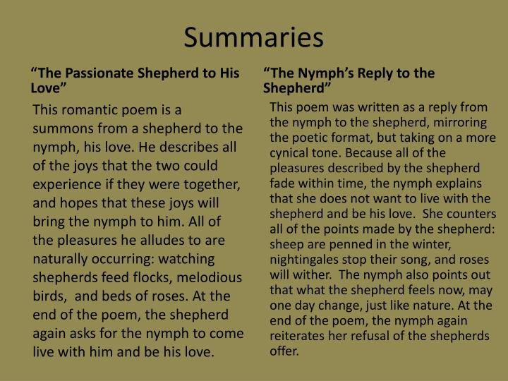 Ppt The Nymphs Reply To The Shepherd Sir Walter Raleigh