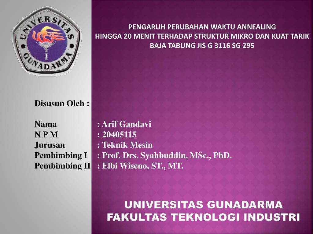 Ppt Universitas Gunadarma Fakultas Teknologi Industri Powerpoint Presentation Id 5128495