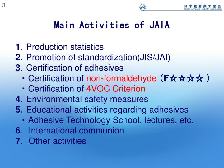Main activities of jaia