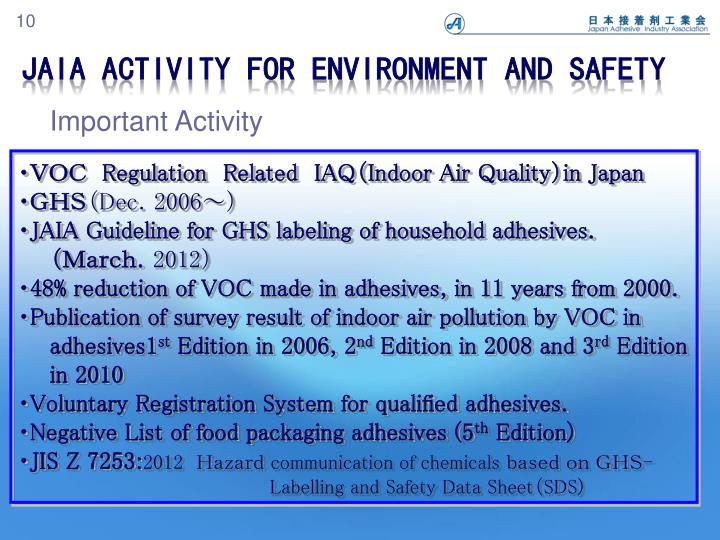 JAIA Activity for Environment and Safety