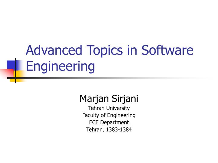 advanced topics in software engineering n.